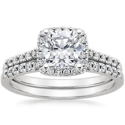 1.55 Tcw Solitaire Halo Cushion Cut French Pave Bridal ring sets 10k white gold