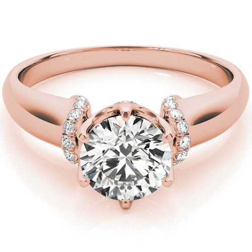 1.00 Tcw Contour Crown with CZ Shoulder Round Cut Engagement Ring 14k Rose gold
