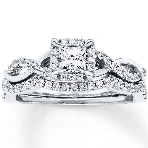 0.75 Tcw Princess Cut Halo CZ Intertwining Waves Wedding Ring Set 18K White Gold