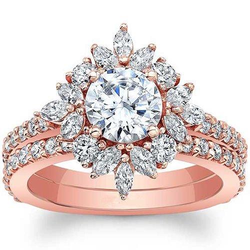 2.00 Tcw Round & Marquise Nature Inspired Bridal Wedding Ring Set 14K Rose Gold