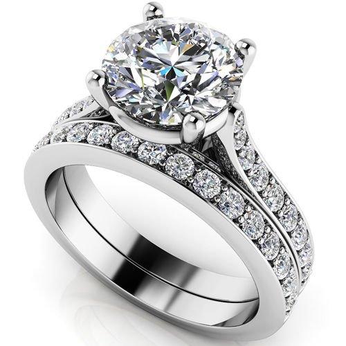 2.75 Ct Big Round Cut Bridal Engagement Wedding Jewelry Ring Sets 18k White Gold