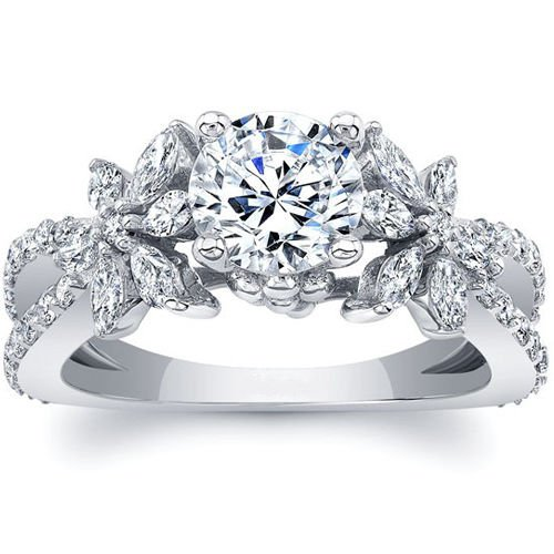 1.90 Tcw Split Shank Round and Marquise Floral Engagement Ring In 14K White Gold
