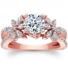 1.90 Tcw Split Shank Round and Marquise Floral Engagement Ring In 10K Rose Gold