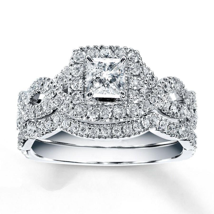1.15 Tcw Princess Cut Halo twist CZ Engagement And Wedding Ring Set 14K W Gold