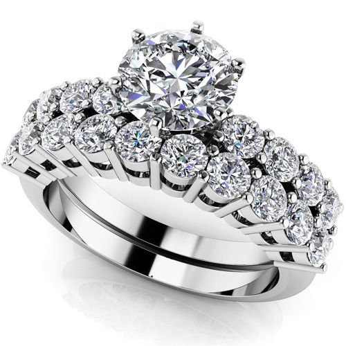 2.10 Ct D Shank Round Cut Wedding Engagement Ring Sets Jewelry 18k White Gold