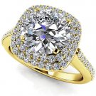 1.35 Tcw Round Solitaire CZ Double Halo Engagement Ring In 18K Solid Yellow gold