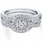 0.90 Tcw Round Cut Halo twist CZ Engagement And Wedding Ring Set 14K White Gold