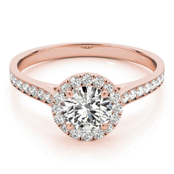 0.80 Tcw Classic Halo CZ Cathedral Solitaire Engagement Ring in 14k Rose Gold