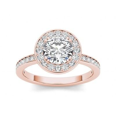 1.40 Tcw Round Solitaire CZ Classic Halo Engagement Ring 18k Solid Rose Gold