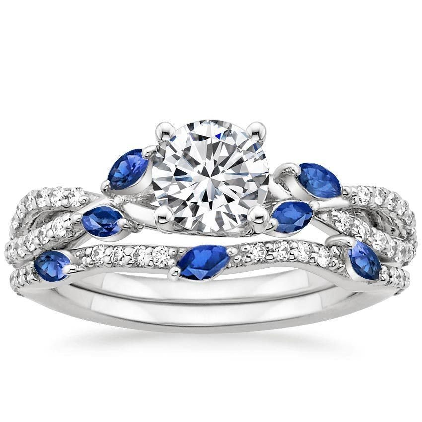 1.70 Tcw CZ Blue Sapphire Marquise Luxe Willow Wedding Ring Sets 18K White gold
