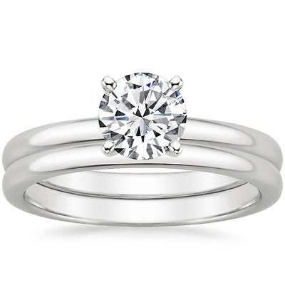 0.80 Tcw Plain Band Solitaire CZ Bridal Wedding Ring Set 14k Solid White Gold