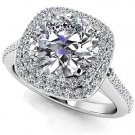 1.35 Tcw Round Solitaire CZ Double Halo Engagement Ring In 10K Solid White gold