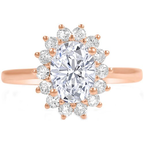 1.10 Tcw Classic Floral Diane Oval Halo CZ Engagement Ring 14K Solid Rose Gold