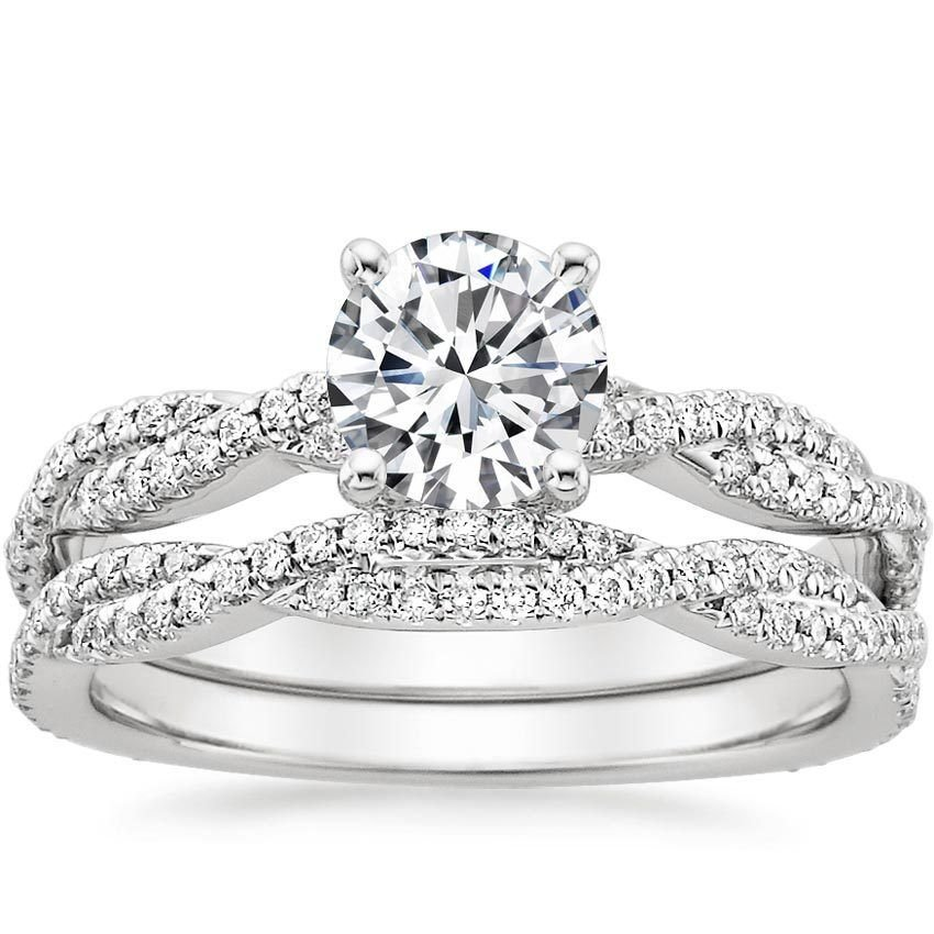 1.25 Tcw Petite Luxe Twisted Vine CZ Bridal Wedding Ring Set 14K Sold White Gold