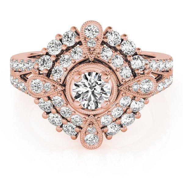 0.75 Tcw CZ Compass milligrain split Double Halo Engagement Ring 14K Rose Gold