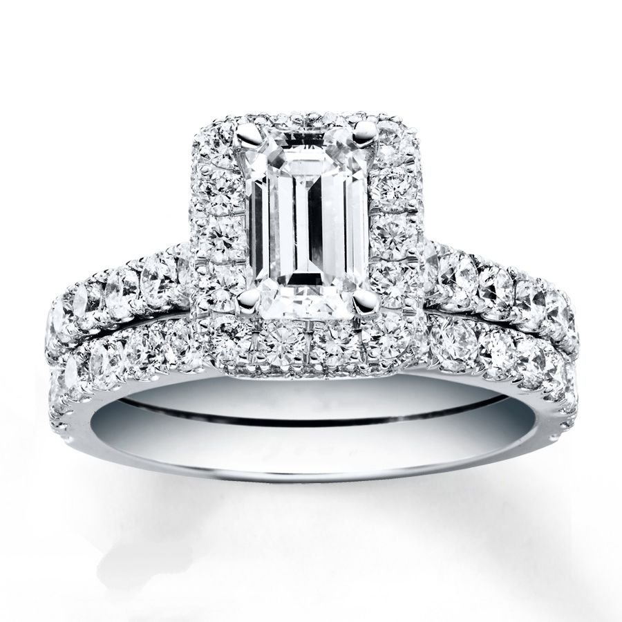 2.50 Tcw Emerald Cut Halo CZ Pave Engagement And Wedding Ring Set 18K White Gold