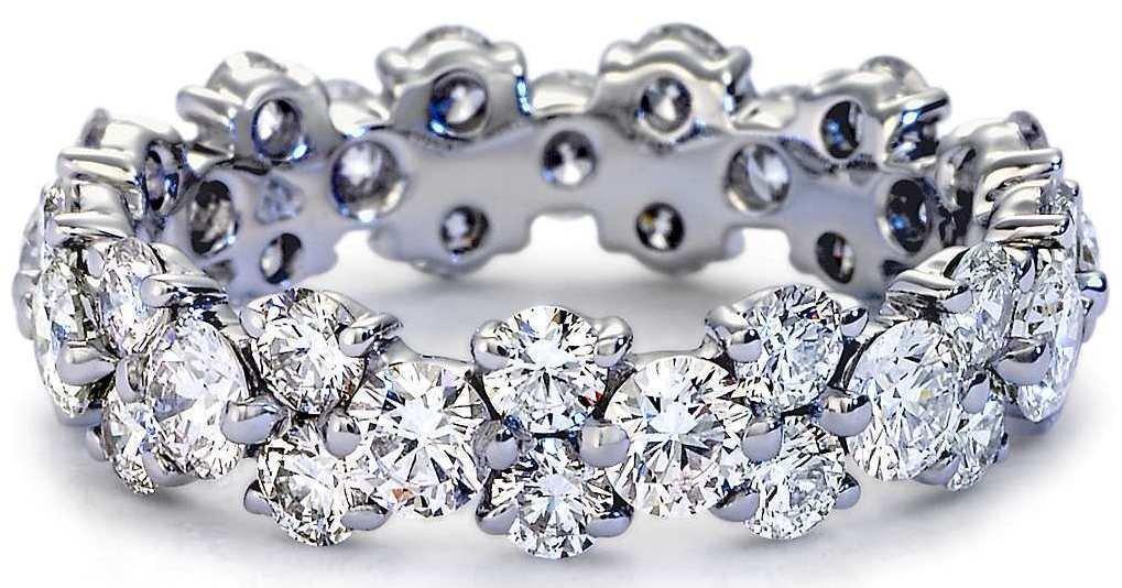 2.50 Ct H SI2 Claw Set Garland Diamond Eternity Wedding Ring 18K White Gold