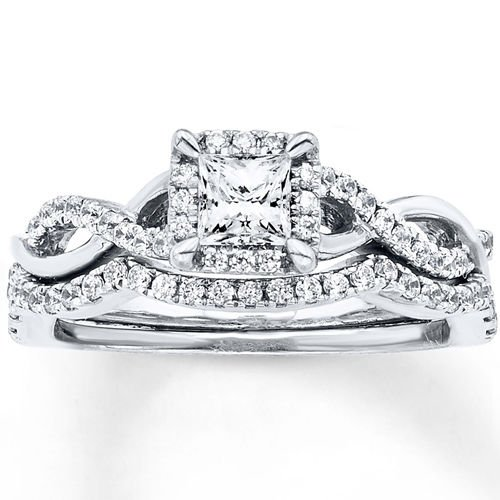 0.75 Tcw Princess Cut Halo CZ Intertwining Waves Wedding Ring Set 14K White Gold