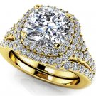 2.10 Tcw Cushion Cut CZ Solitaire Double Halo Bridal Ring Sets 10k Yellow Gold
