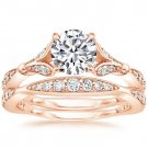 1.40 Tcw Nature Inspired CZ Round Solitaire Wedding Ring Sets In 14k Rose Gold
