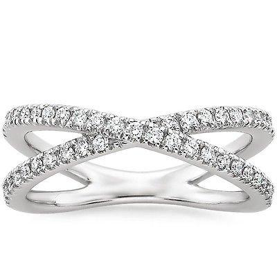 0.35 Ct F-G SI Round Cut Diamond Pave Half Eternity Wedding Band 14K white gold