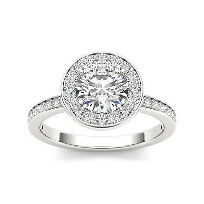 1.40 Tcw Round Solitaire CZ Classic Halo Engagement Ring 18k Solid White Gold
