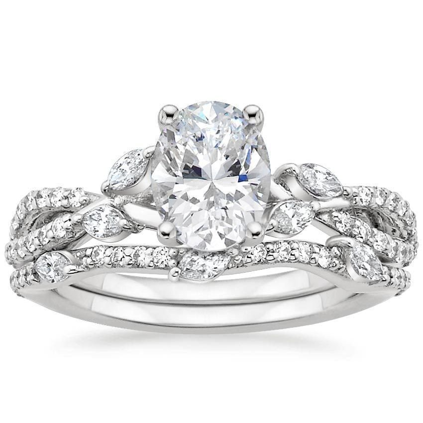 1.70 Tcw F-G VVS Natural Diamond Semi Mount Wedding Ring Set In 18K white gold