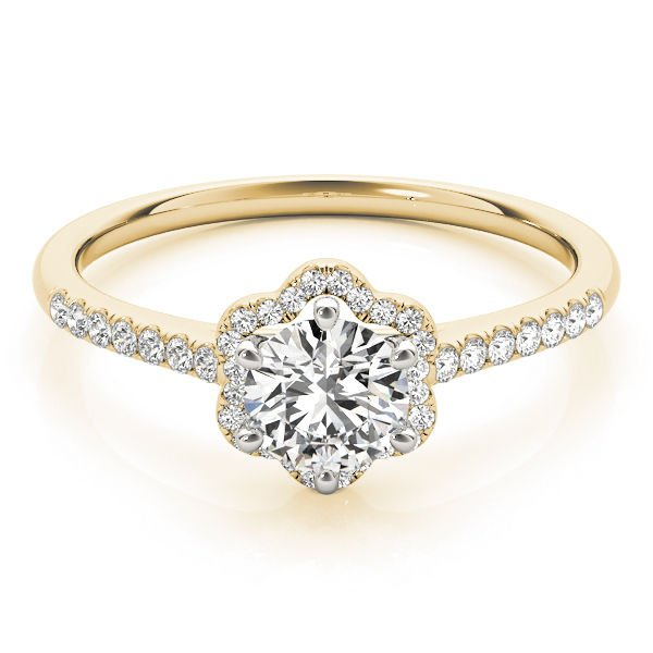 0.65 Tcw Two Tone Petite Floral Halo CZ Cathedral Engagement Ring 18K Y Gold