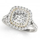 1.20 TCW Two Tone Cushion Double CZ Halo Engagement Ring 18 K White Yellow Gold