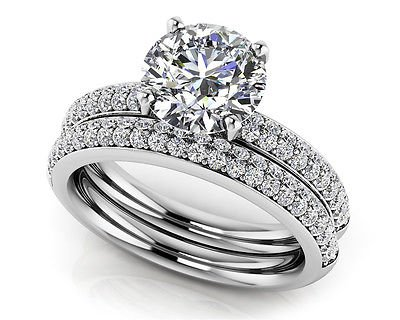 1.95 Tcw Round Cut Solitaire Four Row CZ Wedding Ring Sets 14K Solid White Gold