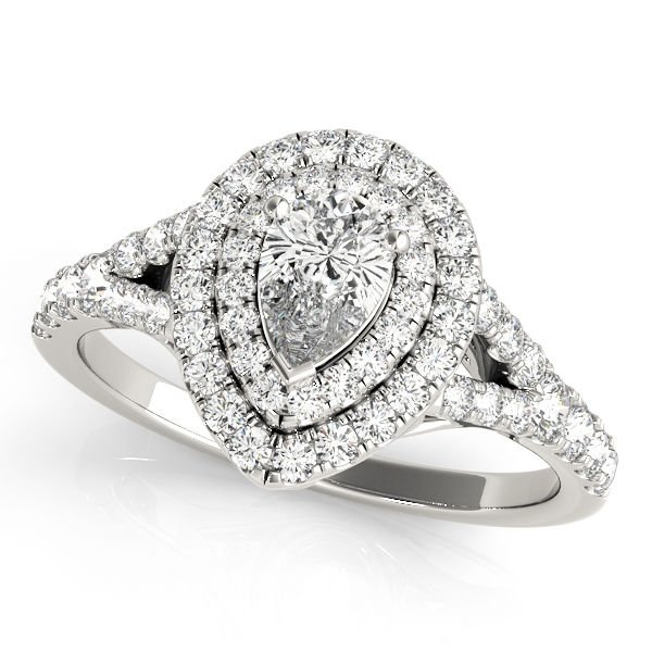 1.10 Tcw Two Tone Pear Shaped Double Halo CZ Engagement ring 18k White Gold