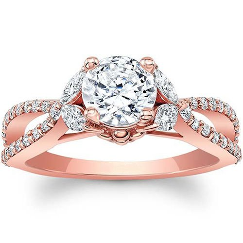 1.50 Tcw Split Shank Round and Marquise Floral Engagement Ring In 10K Rose Gold