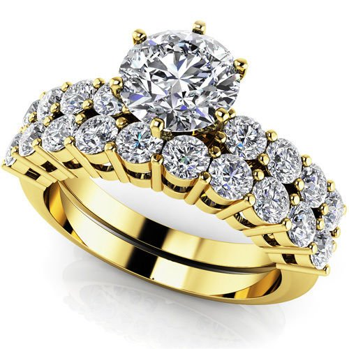 2.10 Ct D Shank Round Cut Wedding Engagement Ring Sets Jewelry 18k Yellow Gold
