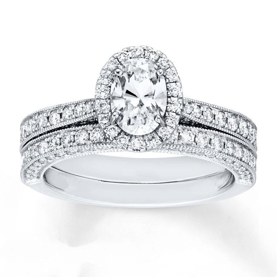1.70 Tcw Oval Cut CZ Vintage Milgrain Engagement And Wedding Ring Set 18K W Gold