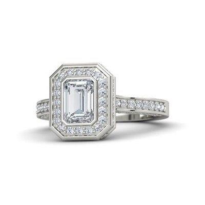 2.15 Tcw CZ Solitaire Bezel Set Emerald Cut Halo Engagement Ring 18K white Gold