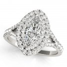 0.75 Tcw Split Shank Marquise Double Halo Cz Engagement Ring 14k White Gold