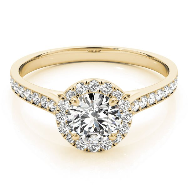 0.80 Tcw Classic Halo CZ Cathedral Solitaire Engagement Ring in 14k Yellow Gold