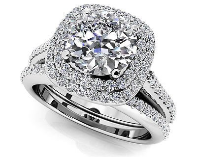 1.50 Tcw Round Solitaire CZ Double Halo Bridal Ring Sets 18K Solid White gold
