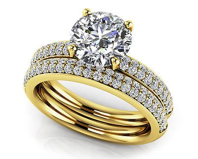 1.95 Tcw Round Cut Solitaire Four Row CZ Wedding Ring Sets 18K Solid Yellow Gold
