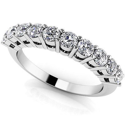 0.70 Ct G-H SI Knife Edge Half Eternity Band Diamond Wedding Ring 18K White Gold