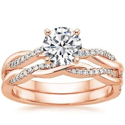 1.05 Tcw Round Solitaire CZ Petite Twisted Vine Wedding Ring Set 14k Rose Gold