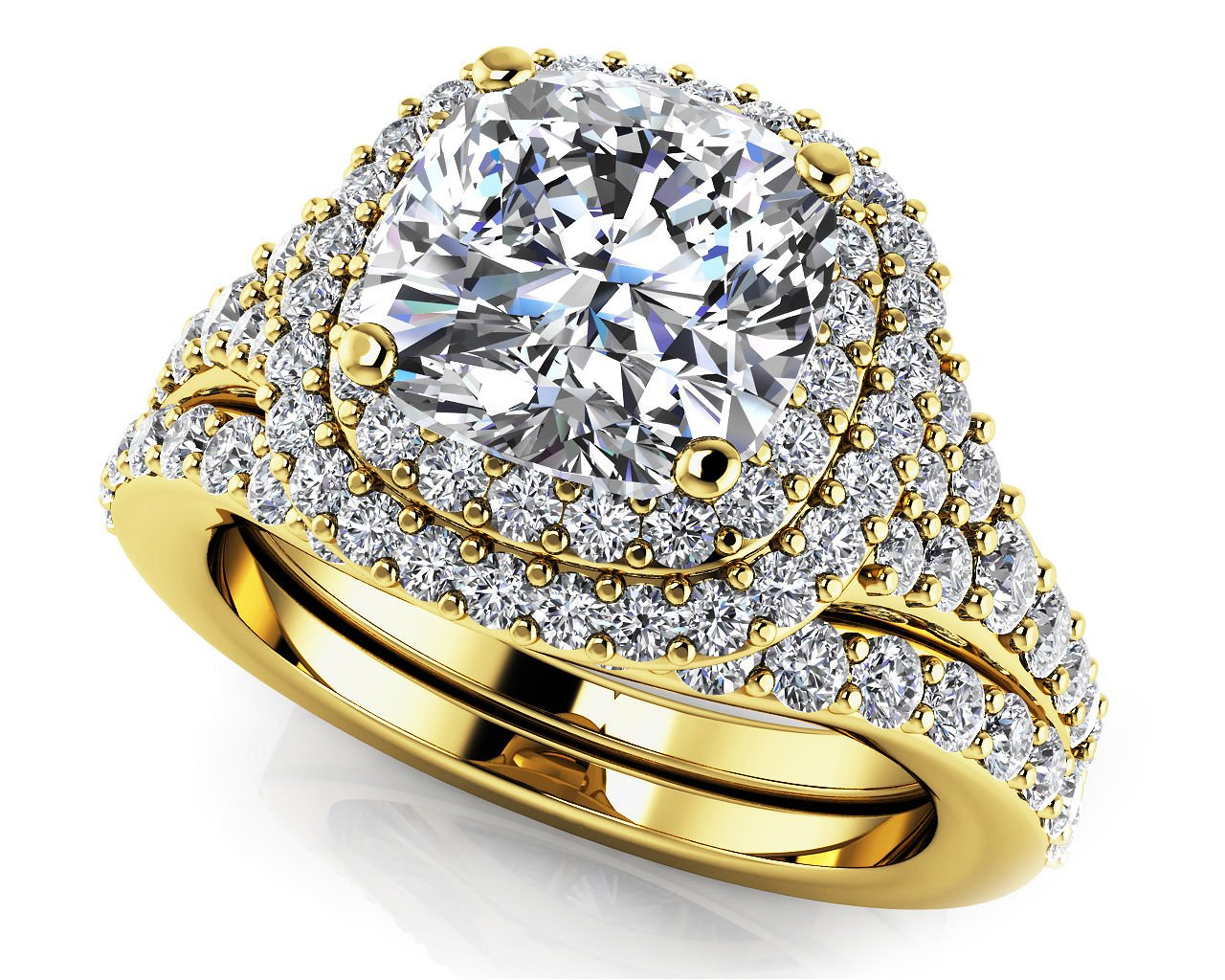 2.10 Tcw Cushion Cut CZ Solitaire Double Halo Bridal Ring Sets 14k Yellow Gold