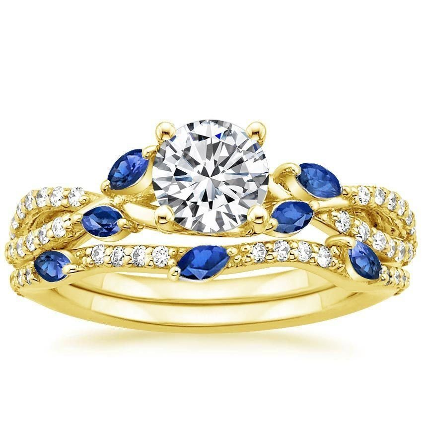 1.70 Tcw CZ Blue Sapphire Marquise Luxe Willow Wedding Ring Set 10K Yellow gold
