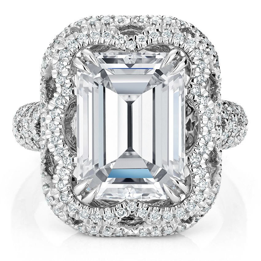 5.90 ct Solitaire Emerald Cut Cirrus Large Halo Engagement Ring 14K White gold