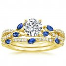1.70 Tcw CZ Blue Sapphire Marquise Luxe Willow Wedding Ring Set 14K Yellow gold