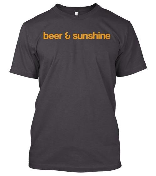 Men's MEDIUM T-Shirt Classic Logo beer and sunshine crew neck