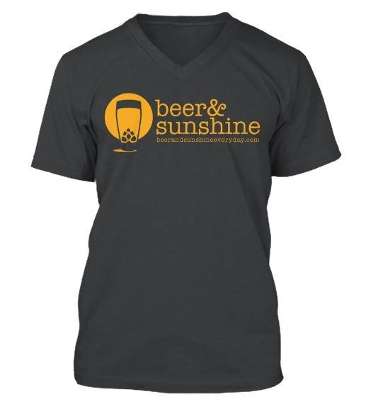Woman's MEDIUM T-Shirt Modern Logo beer & sunshine V Neck