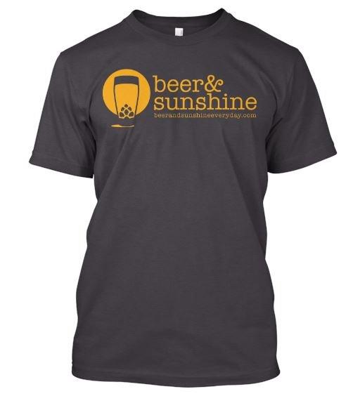 Men's MEDIUM T-Shirt Modern Logo beer and sunshine crew neck