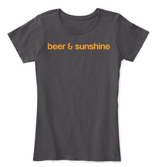 Woman's MEDIUM T-Shirt Classic Logo beer and sunshine Crew Neck