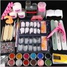 Nail Manicure Set Acrylic Liquid Glitter Powder Nail Tips Brush Art Tool UV Kit..with liquid set